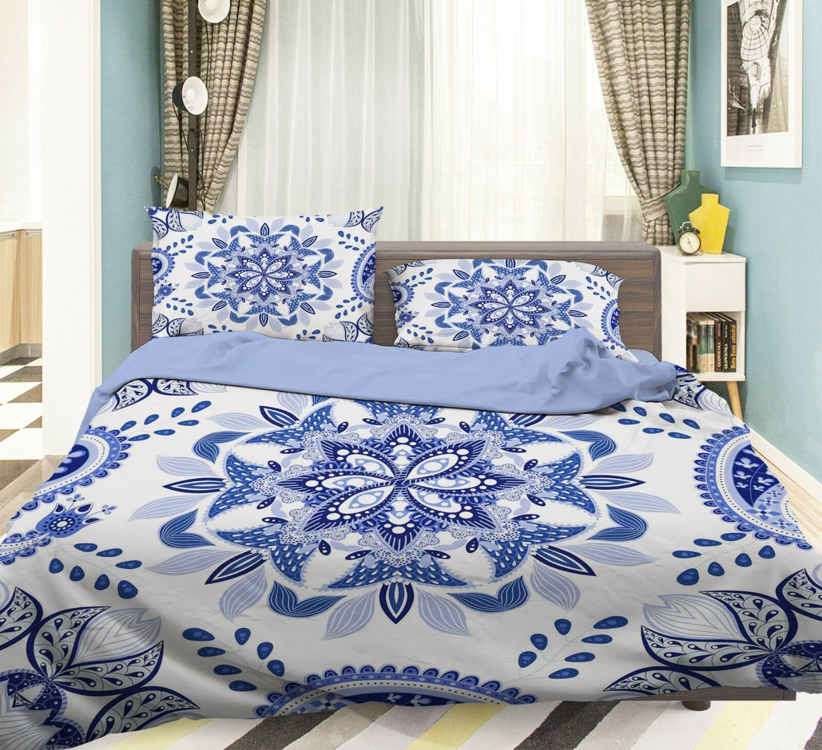 3D blu Pattern 79 Bed Pillowcases Quilt Duvet Cover Set Single Queen King CA