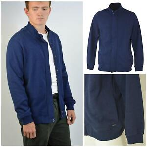 M-amp-S-Marks-and-Spencer-Autograph-Mens-Navy-Blue-Thick-Jersey-Bomber-Jacket