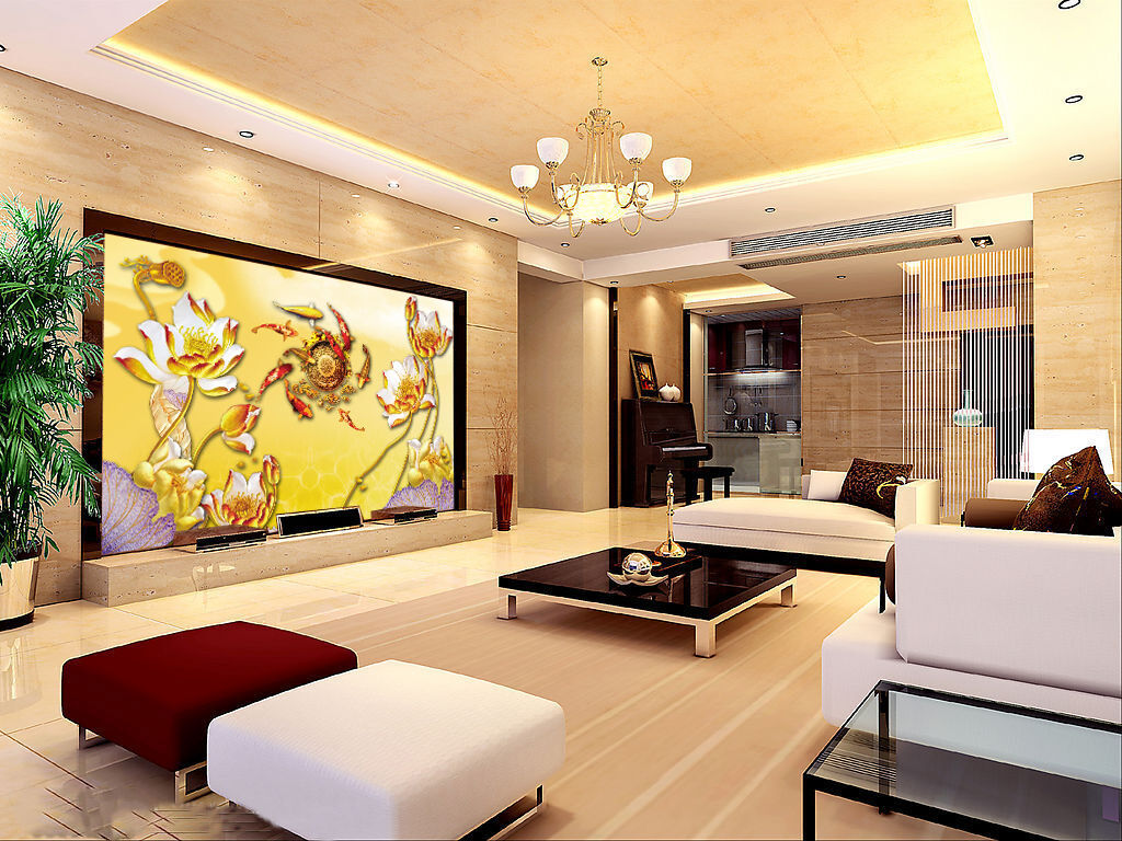3D Beautiful Lotus Fish 022 Wall Paper Wall Print Decal Wall AJ WALLPAPER CA