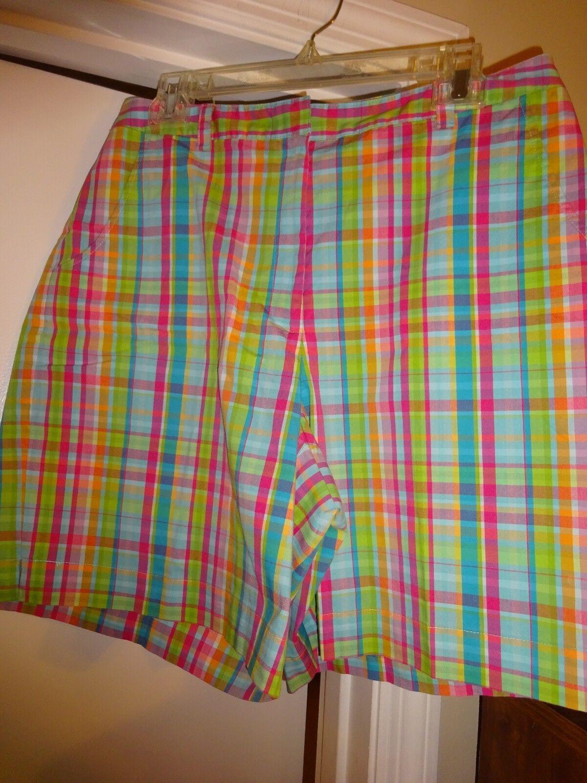 Liz Claiborne bluee Pink Green orange Plaid Size 12 Ladies Shorts Zip Front