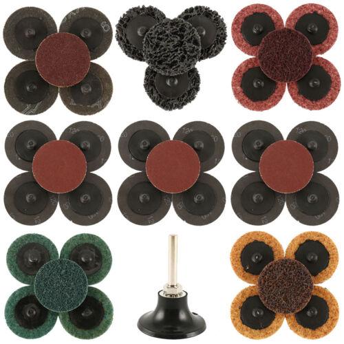 "35x 50mm 2/"" Sanding Discs 60 80 120 GRIT Vecro Sandpaper Roll Lock Pad UK"
