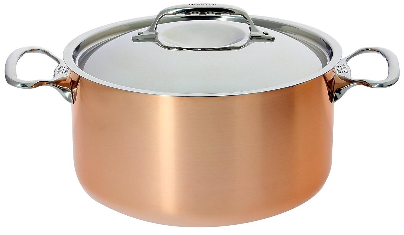 De Buyer 6442.24 Inocuivre Marmite avec Couvercle Cuivre Acier Inoxydable – 24 cm, 5,4 L