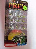 Easy Prey Ice Fishing Jigs 1/32 Cht/blk Card Of 12 Jigs. Made In Usa