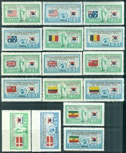 EDW1949SELL : KOREA 1951-52 Scott #132-73 Post Office Fresh. Very Fine, Mint NH.