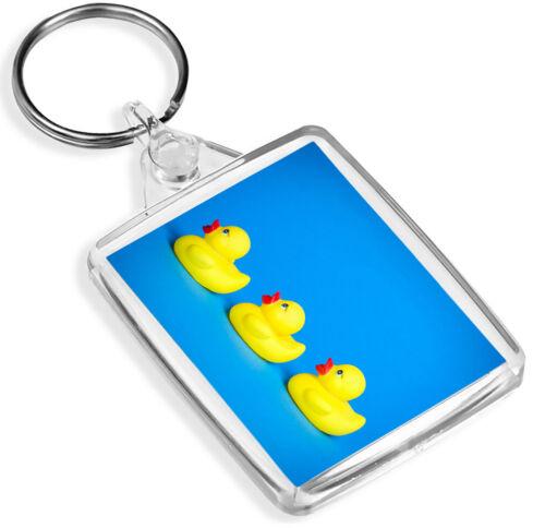 Bath Toy Duckling Keyring IP02 Blue Background Kid/'s Fun Cute Gift #16798