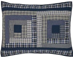 Country-Blue-Plaid-Hand-Quilted-Patchwork-Standard-Pillow-Sham-Cotton-Columbus