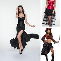 Black Burlesque Ruffle Gothic Steampunk Victorian Layer Skirt Evening Dress Hot