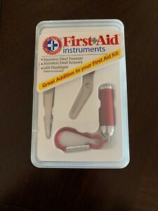 Be Smart Get Prepared First Aid Instruments Kit Tweezer Scissors LED Flashlight