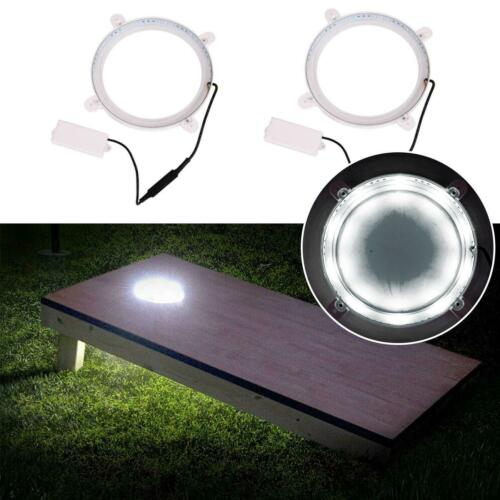 2Pcs Cornhole Game Set Night Light Corn Hole Backyard Bag Board LED Cold White