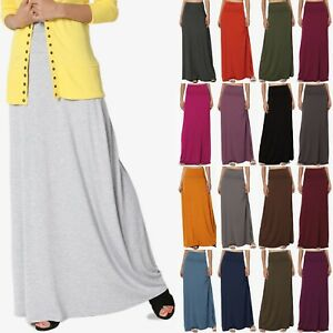 TheMogan-S-3XL-Women-039-s-Casual-Lounge-Solid-Draped-Jersey-Relaxed-Long-Maxi-Skirt