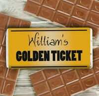 Personalised Willy Wonker Style Bar Chocolate Bar Golden Ticket