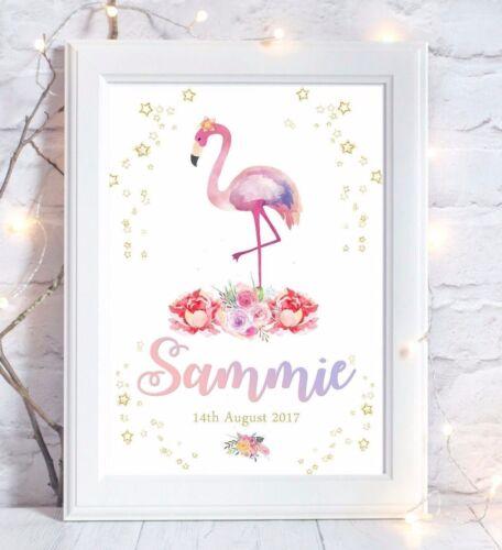 Tropical Flamingo Personalised Print Christening Birth Gift Nursery Wall Art