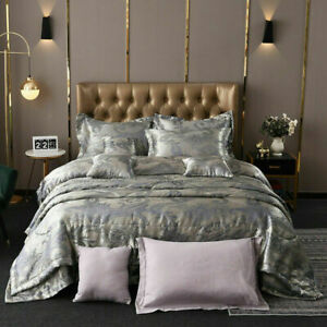Jacquard-Silver-Grey-Luxury-Duvet-Cover-Bedding-Set-Quilt-Single-Double-King-New