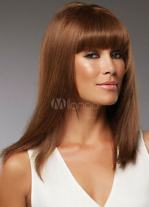 100-Human-Hair-Chestnut-Light-Brown-Wig-Bangs-Straight-Long-Wig-For-Women