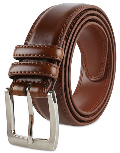Men/'s Dress Belt ALL Genuine Leather Double Stitch Classic Design 35mm All Sizes
