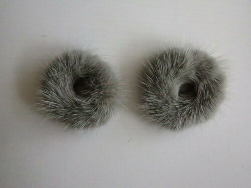 3pcs//set of real mink fur scrunchies hair band ponytail holders elastic band gry