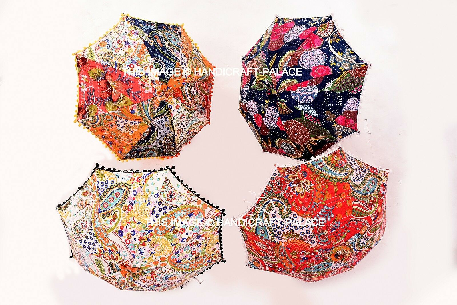 5 PC Wholesale Lot Indian Kantha Outdoor Garden Embroidered Umbrella Bohemian