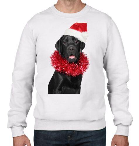Natale Labrador nero con Babbo Natale Cappello Uomo Felpa Maglione