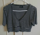 Dotti Black & White Striped Crop Top, size L/12-14