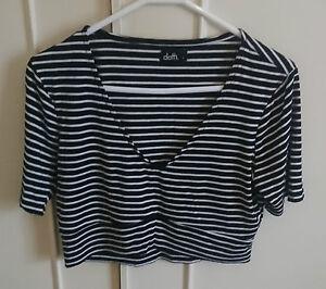 Dotti-Black-amp-White-Striped-Crop-Top-size-L-12-14