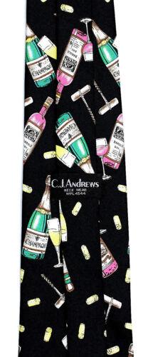 Wine /& Champagne Men/'s Necktie Red White Corks Corkscrew Bottles Black Neck Tie