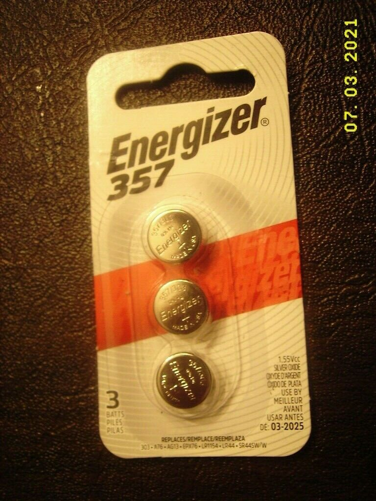 Energizer 357 Watch/Electronic Batteries SINGLE pack of 3 - brand new! 3 buttons