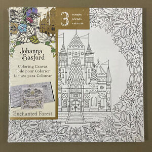 """Enchanted Forest coloring painting canvas boards set of 3 Johanna Basford 10x10"""""""