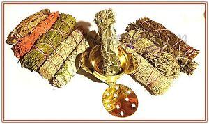 Brass Cauldron and 10 Sage Smudge Stick SAMPLER Blue, Red, White, Desert Dragons