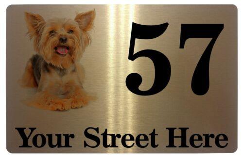 Yorkshire Terrier Personalised Address Metal Aluminium Sign Plaque Door House