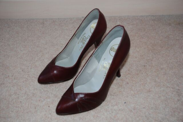 Ladies Vintage 1980s burgundy leather high heel stiletto court shoes size UK 5