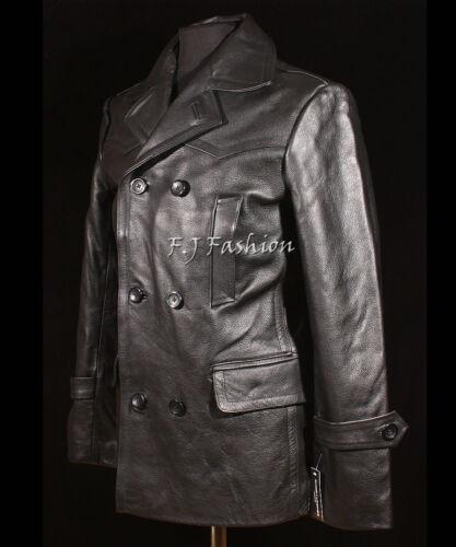 DR Black Men/'s Men/'s New German Military Reefer Real Cowhide Leather Jacket Coat