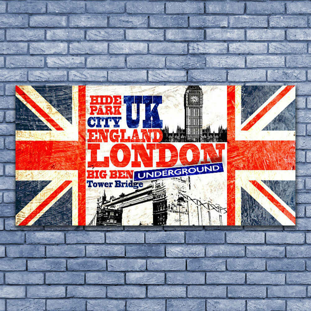 Acrylic print Wall art 140x70 Image Picture London Flag Art