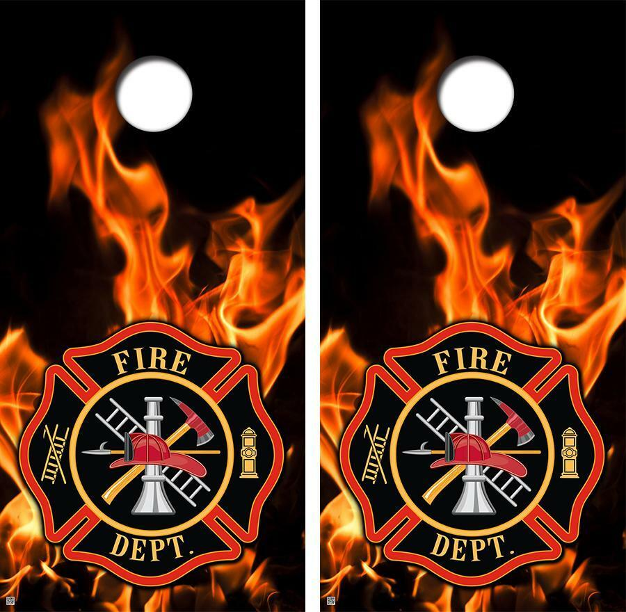Fire Fighter Flames & Badge Cornhole Board Skin Wrap FREE SQUEEGEE