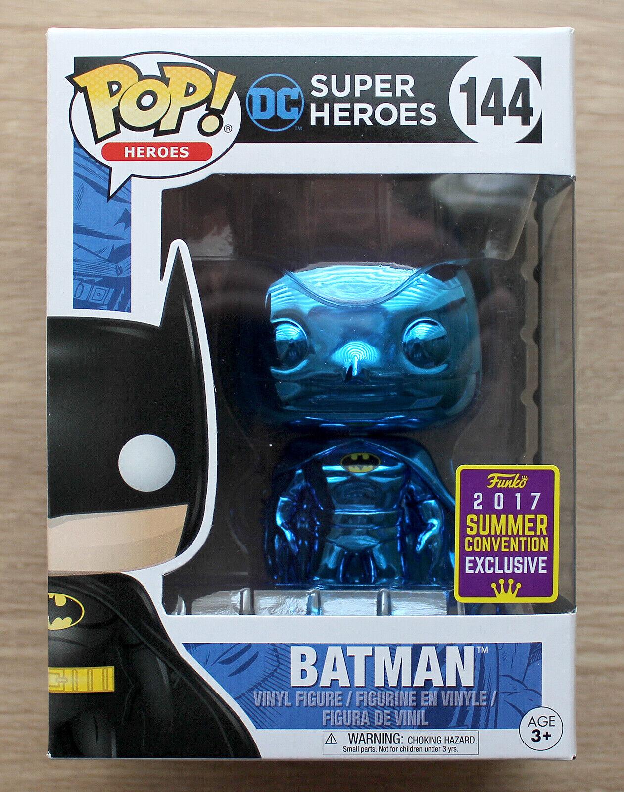 Funko Pop DC Heroes Batman Blau Chrome SDCC (Crease) + Free Hard Case Protector