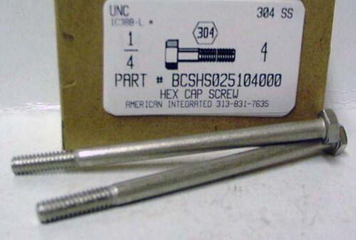 6 1//4-20x4 Hex Head Cap Screws 304 Stainless Steel