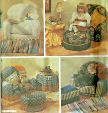 8641 simplicity Sewing Pattern Uncut 18 Inch Doll Chair Ottoman Rug Tablecloth