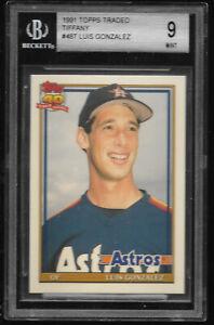 1991-Topps-Traded-Tiffany-Luis-Gonzalez-Houston-Astros-RC-48T-BGS-9-MINT-Rookie