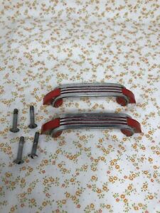 2-1950's Vintage Art Deco Red Plastic And Chrome Kitchen Drwr/cabinet Pulls (2)