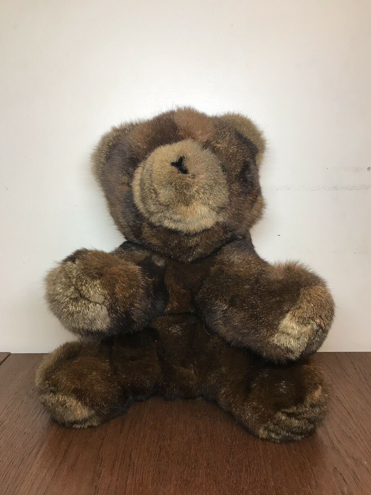 "18"" VINTAGE 1984 TEDDY BEAR SMARTOY INC REAL HAIR FUR STUFFED ANIMAL PLUSH TOY"