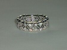 Victorian Design Ladies Hallmarked 925 Silver White Sapphire Eternity Ring