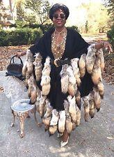 New Adrienne Landau Black embroidered wool Coyote Tails Fur Cape shawl coat OS