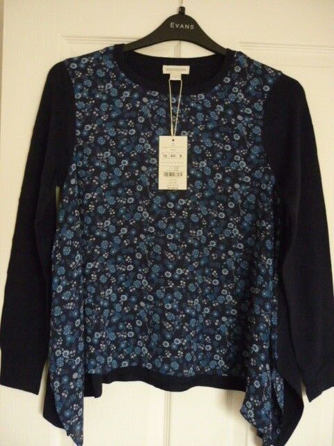 MONSOON PATRICIA NAVY MULTI FLORAL FRONT JUMPER SWEATER US 8 BNWT