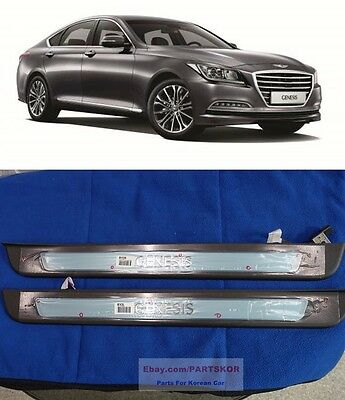 Hyundai New GENESIS LED Door Step Scuff Plate Front Door 2pc Genuine For 2015