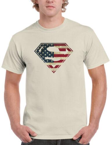 American Flag Superman Logo Shield Mens T-shirt Patriotic USA DC Comics Tee