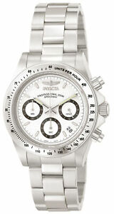 Invicta Men's Watch Speedway Chronograph White and Black Dial Bracelet 9211