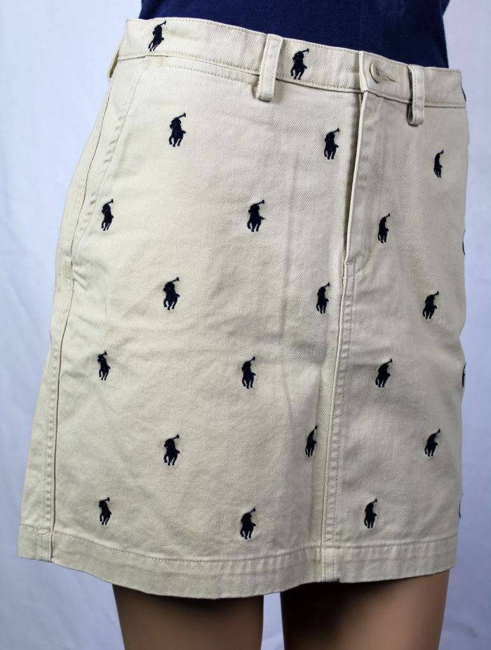 Polo Ralph Lauren Tan Navy bluee Pony Skirt NWT 8