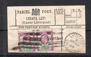 Edward-VII-11-2d-Paire-utilise-sur-Parcel-Post-label