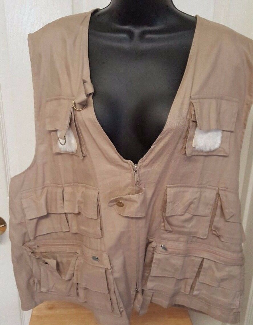American Fisherman NWT Mens Womens Brown Angler's Fishing Vest Size XL