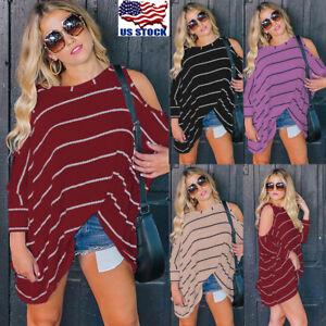 Women-Cut-Out-Cold-Shoulder-Batwing-Long-Sleeve-Tunic-Tops-Stripe-Blouse-T-Shirt