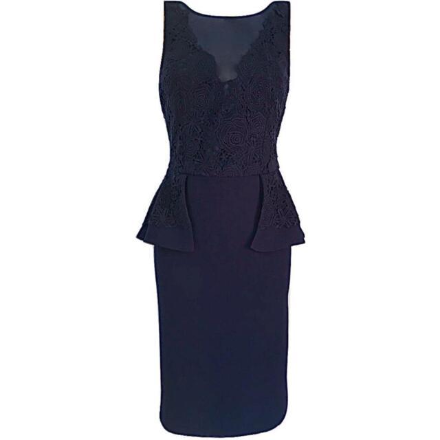 7d4a1efe2b Womens COAST Lace Peplum Pencil Dress Navy Blue Cocktail Party UK Size 10  EU 38